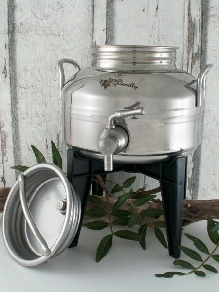 Edelstahlbehälter 2l mit Edelstahl-Auslaufhahn und großem Schraubdeckel