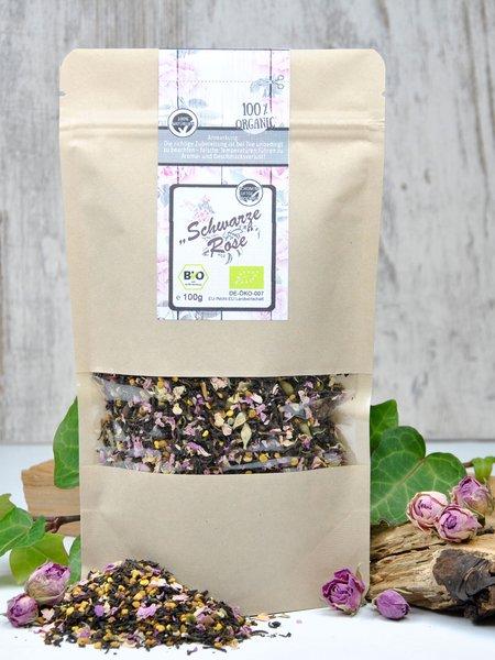 Schwarze Rose - Schwarzer Tee Bio Earl Grey mit Blütenpollen und Rosenblütenblättern
