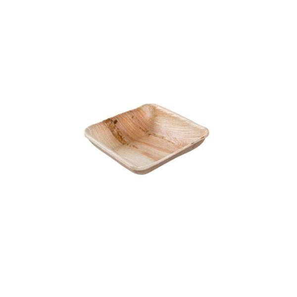 Palmblatt Schälchen, eckig - leicht erhöhter Rand für Fingerfood