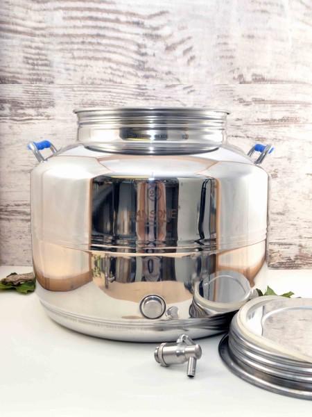 Sansone 25l Edelstahlbehälter mit Edelstahl-Auslaufhahn und großem Schraubdeckel