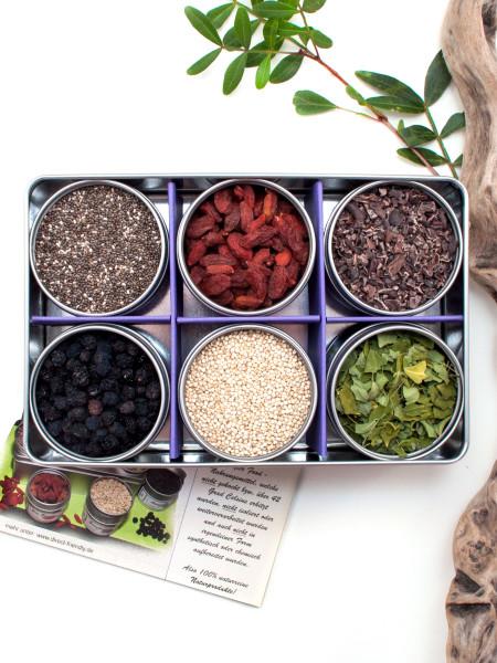 Superfood - Bio Geschenkset mit Aronia, Chia, Goji, Quinoa, Kakao Nibs und Moringa