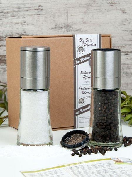 Salz- und Pfeffer-Mühlenset - Bio Geschenkset Salz und Pfeffer in der Mühle