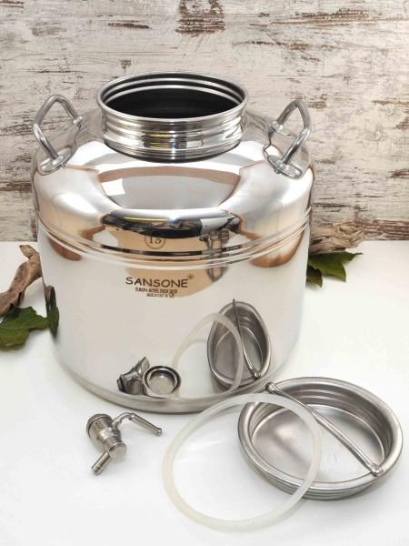 Sansone 15l Edelstahlbehälter mit Auslaufhahn und großer Einfüll-Öffnung mit Schraubdeckel
