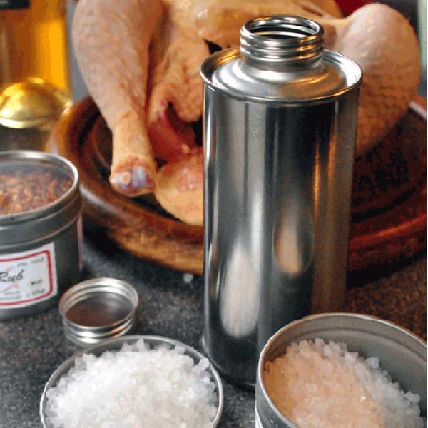 """leere blanke Weißblech """"Dose"""" für Dosen-Hähnchen - Trichterflasche 250 ml"""