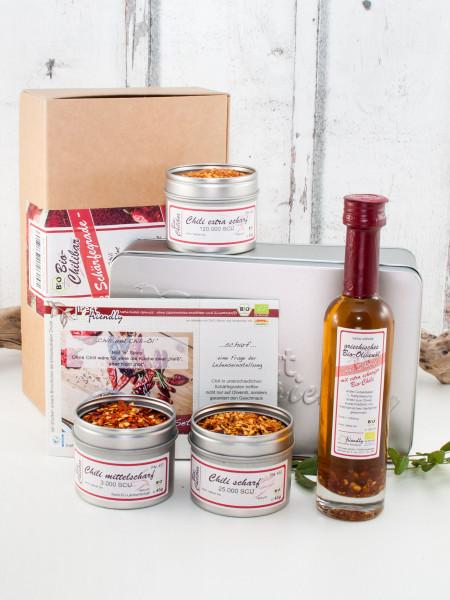 Scharfesser - Bio Geschenkset mit Olivenöl und Chili von mittelscharf bis extrascharf