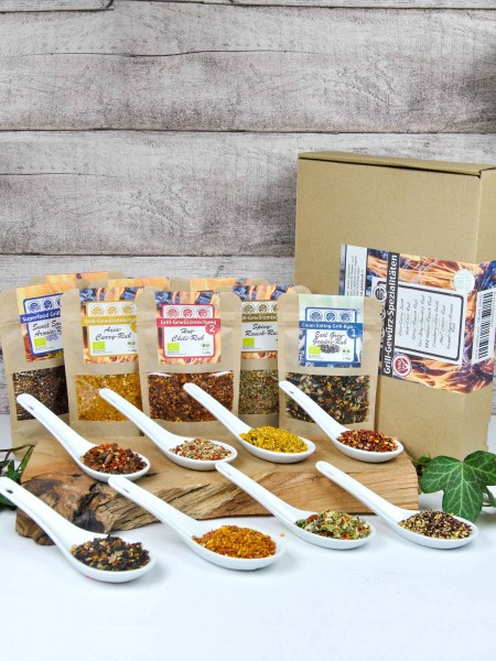 8er Grill Rub Testerset - Bio Geschenkset mit verschiedenen Rubs