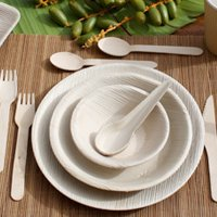 Palmblatt Schälchen, Ø 10cm - leicht erhöhter Rand für Fingerfood