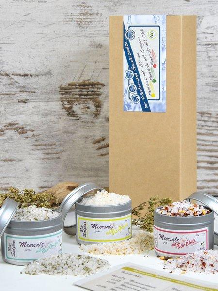 3er Dosen-Salzbar - Bio Geschenkset Meersalz mit Chili, Oregano und Zitrone
