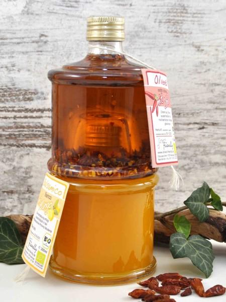 Yin&Yang - 2er Stapelflaschen Bio Geschenkset mit Chili-Olivenöl und Mango-Balsamessig