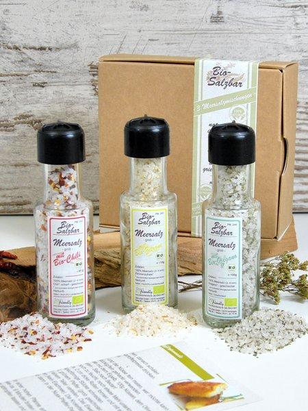 3er Flaschen-Salzbar - Bio Geschenkset Meersalz mit Chili, Oregano und Zitrone