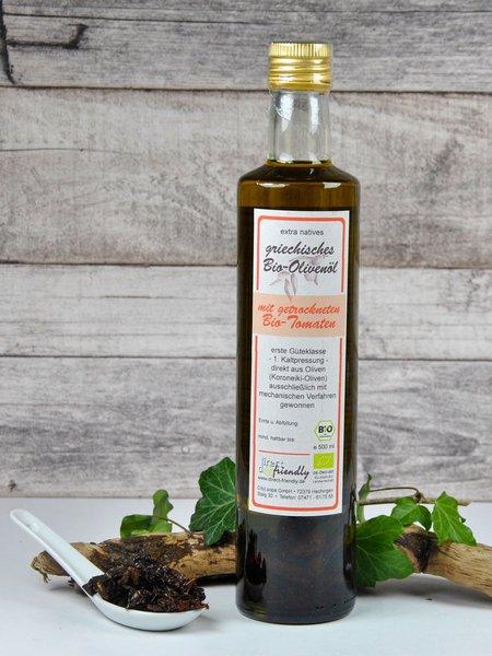 Griechisches Bio Olivenöl mit getrockneten Tomaten