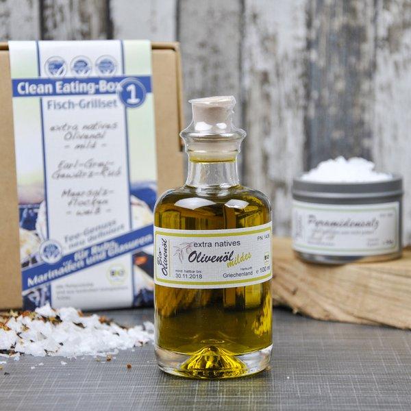 Fisch Grillset - Bio Geschenkset mit Olivenöl, Pyramidensalz und Earl Grey Rub