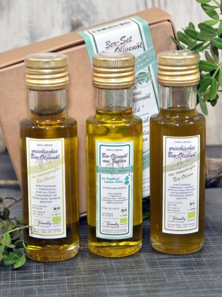 """3er Bio Olivenöle-Set """"mild • naturtrüb • biozyklisch"""""""